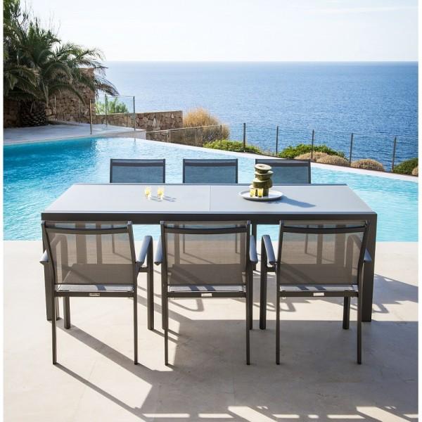 Jati & Kebon 6x Stapelsessel Malaga Aluminium grau und Livorno Aluminium Glastisch ausziehbar, eisen