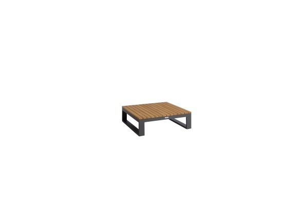 Virginia Teak-Tisch oder Eckelement, Gestell Aluminium, eisengrau, 84,6x84,6 cm, Höhe 28 cm