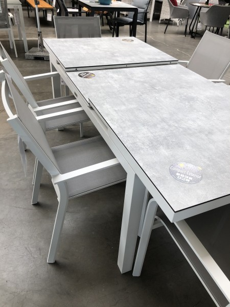 Gabon Aluminiumtisch ausziehbar, weiss matt mit HPL Tischplatte Grigio Granite 160/210X90 cm
