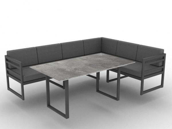 Jati & Kebon Yoro Casual Dining Set bestehend aus 3-Sitzer-Sofa und 3-Sitzer Seitenteil rechts inkl.
