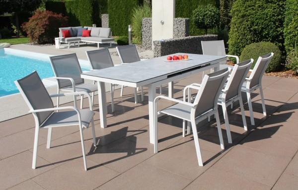 Jati & Kebon Set: 8 Dransy Stapelsessel und 1 Gabon HPL-Tisch ausziehbar mit HPL-Tischplatte grigio