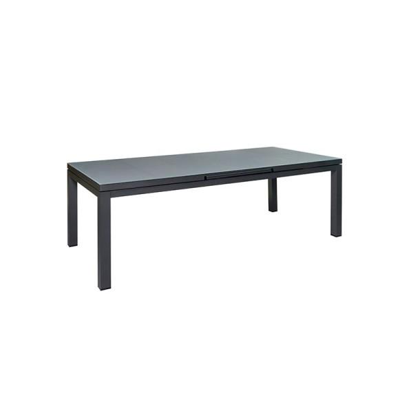 Jati & Kebon Gabon Aluminium Glastisch ausziehbar, eisengrau matt mit Glasplatte grau 220-280X100 cm