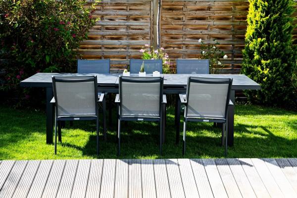 Jati & Kebon Set: 6 Dransy Stapelsessel und 1 Gabon HPL-Tisch ausziehbar mit Tischplatte grigio gran