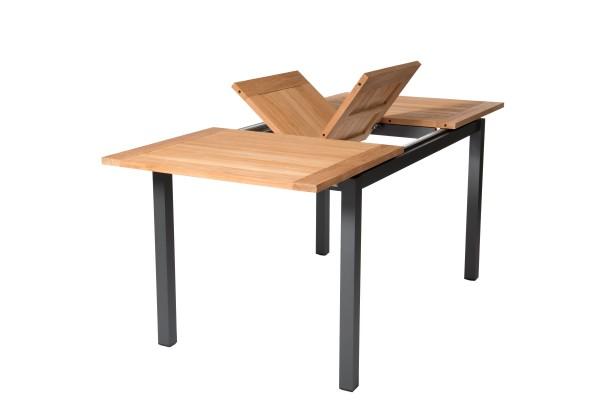 Jati & Kebon Ausziehtisch Mallorca, Alu Gestell grau matt, Teak-Tischplatte 200/257x100 cm