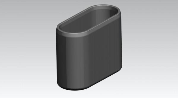 Fusskappen 40x14 mm oval, schwarz