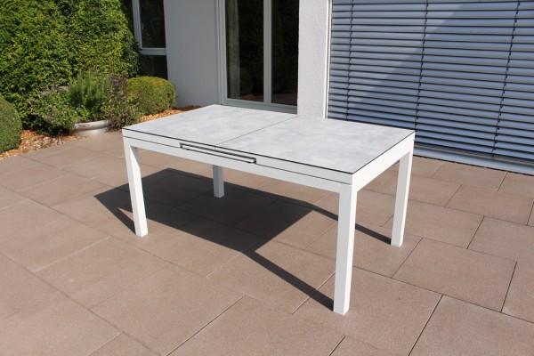 Jati & Kebon Gabon Aluminiumtisch ausziehbar, weiss matt mit HPL Tischplatte Grigio Granite 160/210X