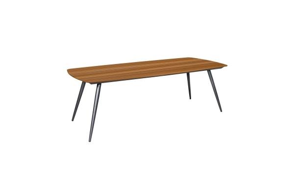 Jati & Kebon Aluminium Tisch Amazone mit Teak Tischplatte 180x100 cm, Gestell eisengrau matt
