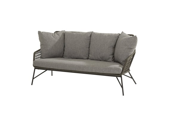 4 Seasons Babilonia Lounge Sofa mit 5 Kissen, Gestell Edelstahl. Rope Farbe mid-grey