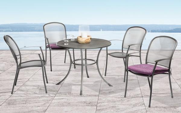 Setangebot Caredo 5-teilig, Stapelsessel und Tisch ø 110 cm mit Schirmloch, eisengrau