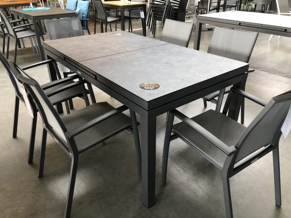 Set Sevilla 6 Stapelsessel und 1 Gabon Aluminium Tisch ausziehbar, 160/210x90 cm HPL Tischplatte ner