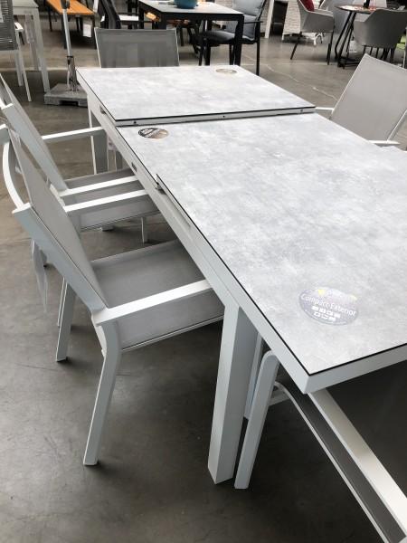 Gabon Aluminiumtisch ausziehbar, weiss matt mit HPL Tischplatte Grigio Granite 220-280X100 cm