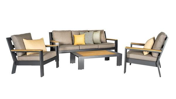 Jati & Kebon Set Merano 1x Lounge Sofa, 2x Lounge Sessel Teak Armlehnen, Kissen natte carbon beige,