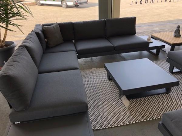 Jati & Kebon Livio Lounge mit Kissen Sunbrella natte sooty (ohne Sessel, ohne Hocker) und Lounge-Tis