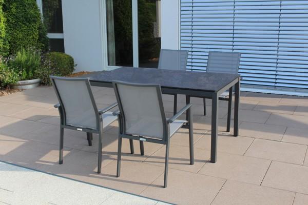Jati & Kebon Set: 6 Sevilla Stapelsessel mit 1 HPL-Tisch 160x90 cm mit Tischplatte nero granite, Ges