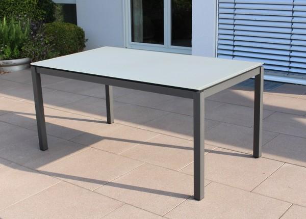 Jati & Kebon Glastisch 160x90 cm mit Glas Tischplatte light grey, Gestell eisengrau Aluminium