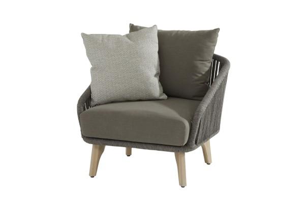4 Seasons Santander Lounge Sessel Teak-Beine, Rope mid-grey inkl. 3 Kissen