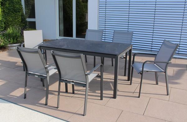 Jati & Kebon Set: 6 Dransy Stapelsessel mit 1 HPL-Tisch 160x90 cm mit Tischplatte nero granite, Gest