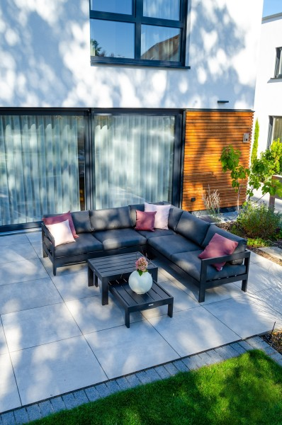 Vigo 3-Sitzer Lounge Sofa grau matt, mit Verstellfunktion an beiden Seiten, Seitenteil rechts 2-Sitz