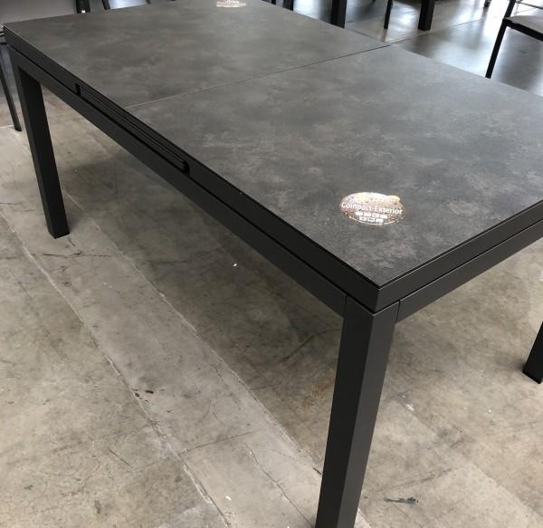 Gabon Aluminiumtisch ausziehbar, eisengrau matt mit HPL Tischplatte Grigio Granite 220-280X100 cm