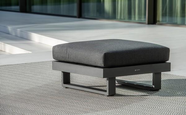 Livio 1-Sitzer eisengrau ohne Rückenlehne mit Kissen Sunbrella natte sooty